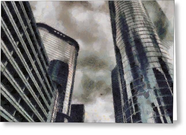 Thunderstorm Paintings Greeting Cards - Downtown Houston Texas Greeting Card by Dan Sproul