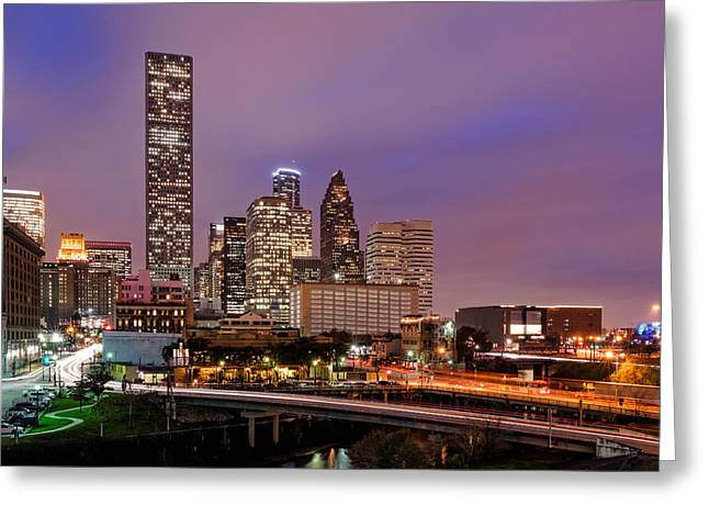 Main Street Greeting Cards - Downtown Houston Texas Skyline Beating Heart of a Bustling City Greeting Card by Silvio Ligutti
