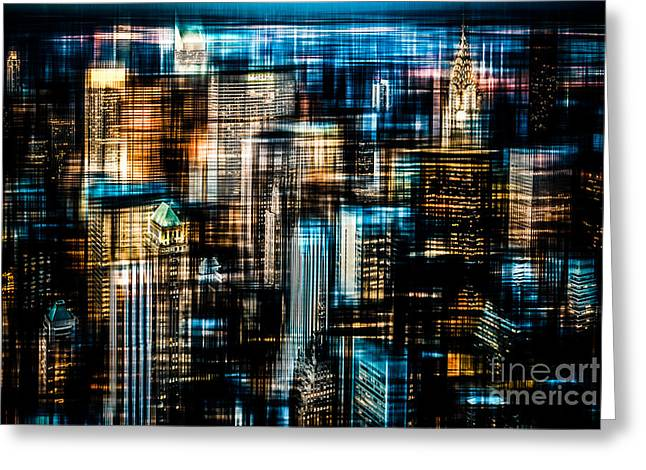 Softengineer Greeting Cards - Downtown II - dark Greeting Card by Hannes Cmarits