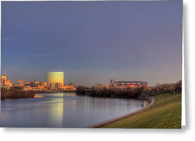 Indiana Christmas Greeting Cards - Downtown Indianapolis from White River Greeting Card by Twenty Two North Photography