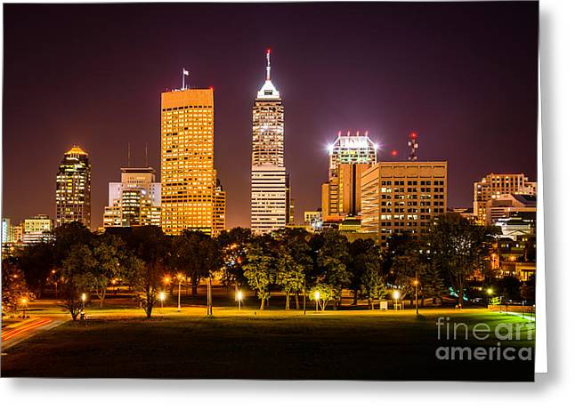 Indiana Photography Greeting Cards - Downtown Indianapolis Skyline at Night Picture Greeting Card by Paul Velgos