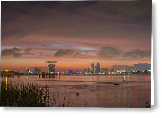 Jacksonville Greeting Cards - Downtown Jacksonville Sunset Greeting Card by Jeff Turpin