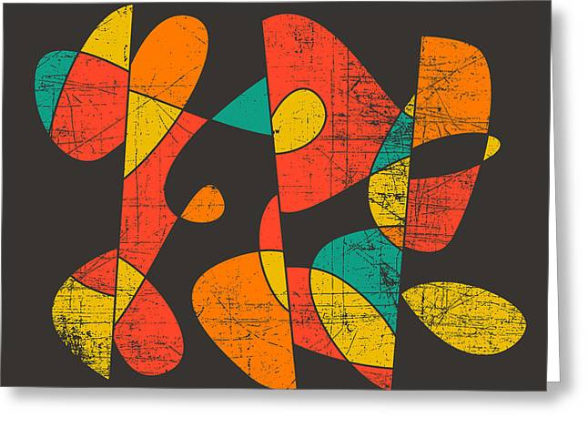 Shape Digital Art Greeting Cards - Downtown Greeting Card by Jazzberry Blue