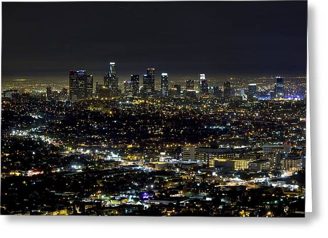 Down Town Los Angeles Greeting Cards - Downtown LA at night Greeting Card by David Persson