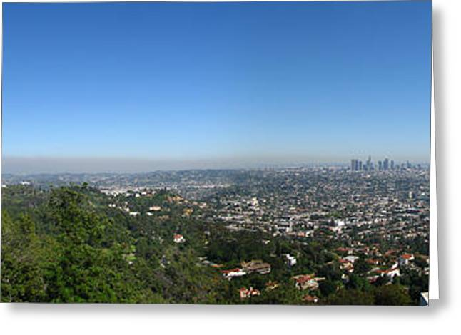 La Downtown Greeting Cards - Downtown LA From Griffith Observatory Greeting Card by Bedros Awak