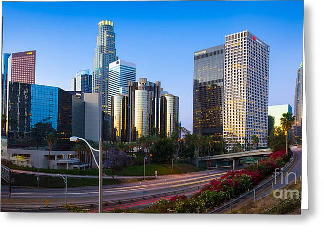 Californian Greeting Cards - Downtown L.A. Greeting Card by Inge Johnsson