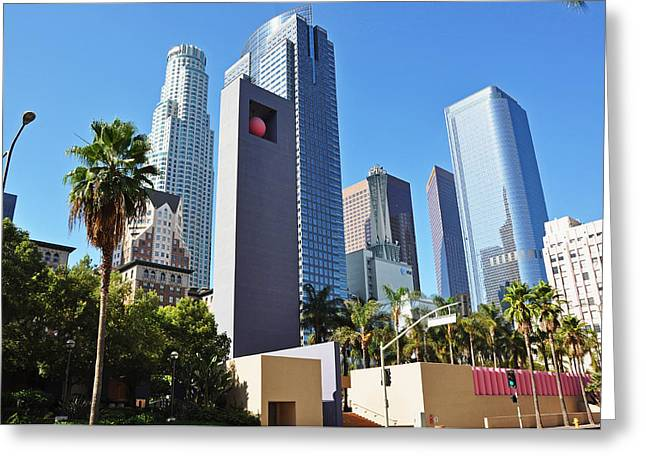Usa Pyrography Greeting Cards - Downtown L.A. Greeting Card by Steffen Schumann