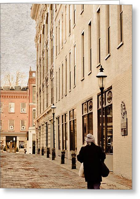 Brick Buildings Mixed Media Greeting Cards - Downtown Lancaster Alley Greeting Card by Trish Tritz