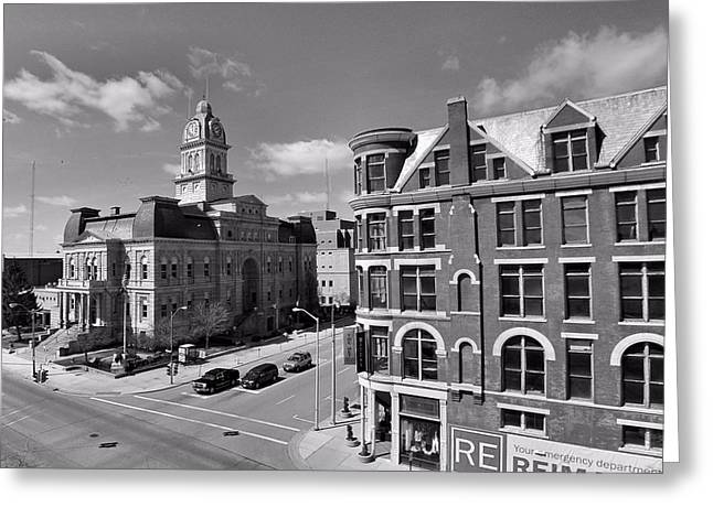 M Court Greeting Cards - Downtown Lima Ohio Aerial Greeting Card by Dan Sproul