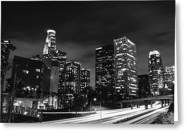 Los Angeles Skyline Greeting Cards - Downtown Los Angeles Greeting Card by Art K