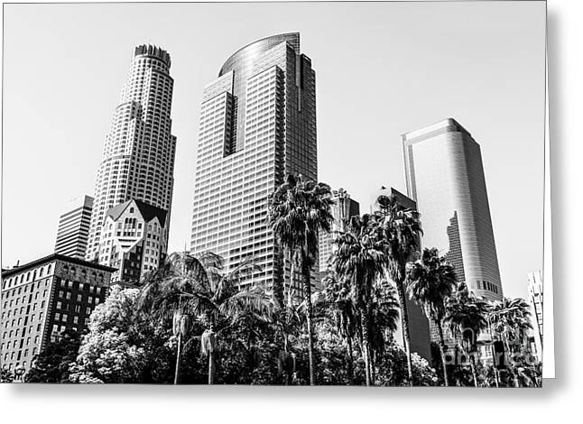 Gas Tower Greeting Cards - Downtown Los Angeles Buildings in Black and White Greeting Card by Paul Velgos