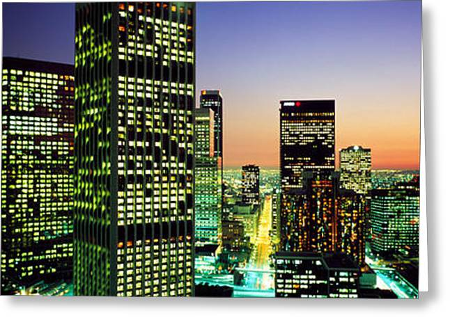 Commercial Photography Greeting Cards - Downtown Los Angeles Ca Usa Greeting Card by Panoramic Images