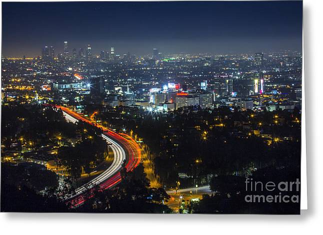 Lakers Greeting Cards - Downtown Los Angeles Greeting Card by Joel Lavold
