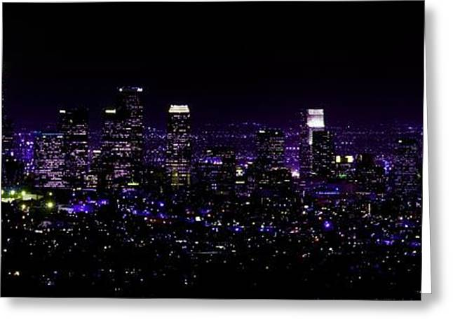 Sunset Posters Greeting Cards - Downtown Los Angeles Panoramic View at Night Greeting Card by Dan Haraga