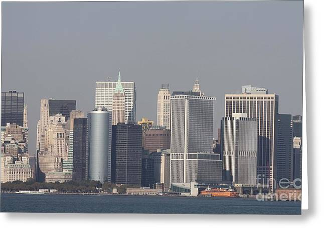 Telfer Photography Greeting Cards - Downtown Manhattan shot from the Staten Island Ferry Greeting Card by John Telfer