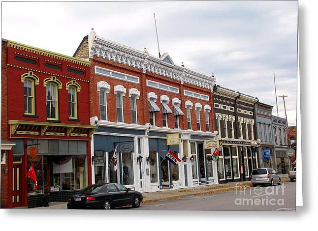 Old Greeting Cards - Downtown Manistee Michigan Greeting Card by Terri Gostola