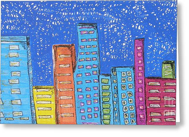 Downtown Drawings Greeting Cards - Downtown Greeting Card by Marcia Weller-Wenbert
