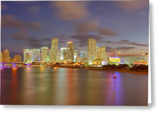 Claudia Domenig Greeting Cards - Downtown Miami and AAA Greeting Card by Claudia Domenig