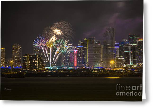 Miami Heat Greeting Cards - Downtown Miami Fireworks View Greeting Card by Rene Triay Photography