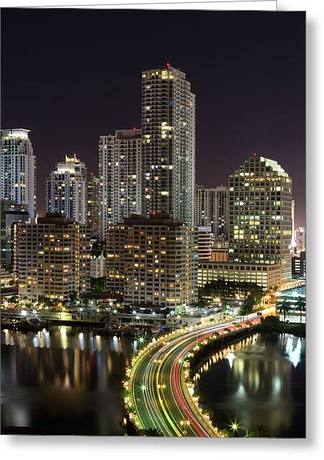 Brickell Greeting Cards - Downtown Miami from Brickell Key Greeting Card by Andres Leon