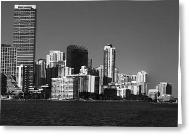 Brickell Greeting Cards - Downtown Miami Panorama Monochrom  Greeting Card by Christiane Schulze Art And Photography