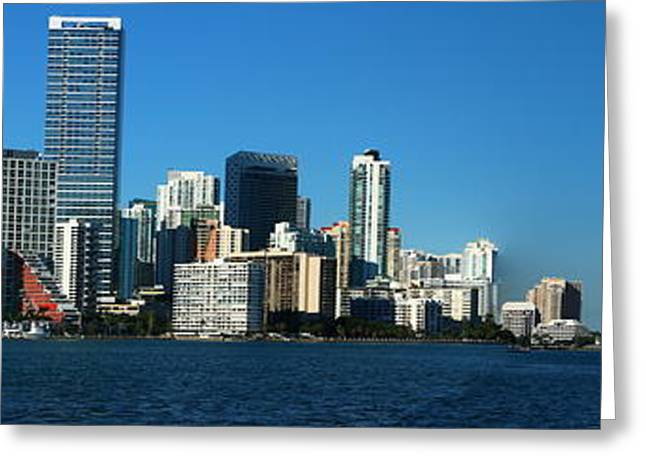 Brickell Greeting Cards - Downtown Miami Panorama Greeting Card by Christiane Schulze Art And Photography
