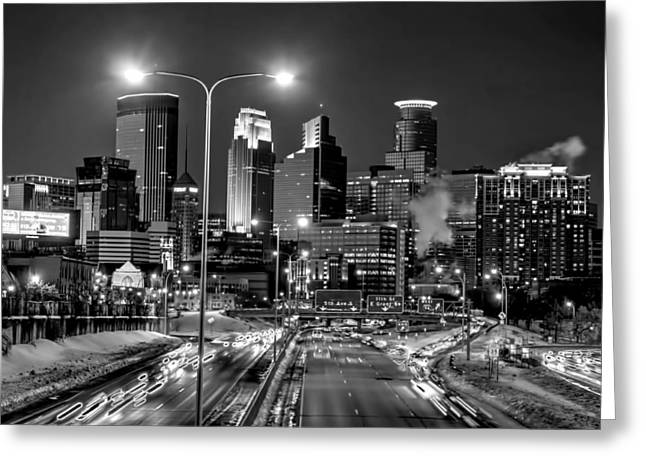 Downtown Franklin Greeting Cards - Downtown Minneapolis at Night Greeting Card by Amanda Stadther