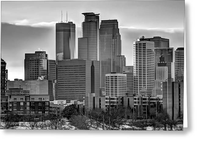 Downtown Franklin Greeting Cards - Downtown Minneapolis in Black and White Greeting Card by Amanda Stadther