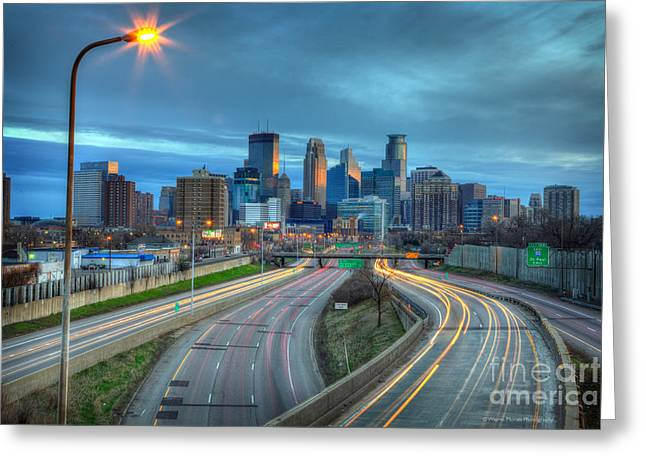 Landscape Photograpy Greeting Cards - Downtown Minneapolis Skyline From 35W  Greeting Card by Wayne Moran