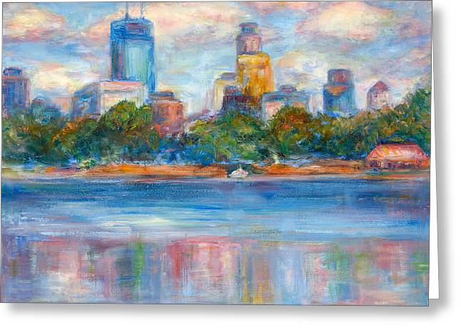 Recently Sold -  - Reflections Of Sky In Water Greeting Cards - Downtown Minneapolis Skyline from Lake Calhoun II - Or Commission Your City Painting Greeting Card by Quin Sweetman