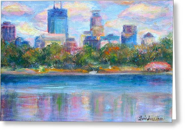 Downtown Minneapolis Skyline from Lake Calhoun Greeting Card by Quin Sweetman