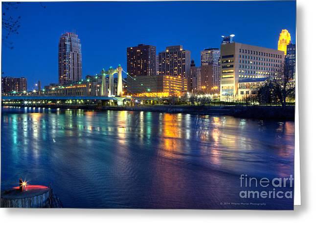 Downtown Minneapolis Skyline Hennepin Avenue Bridge Greeting Card by Wayne Moran