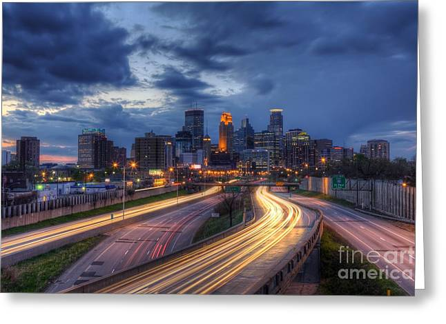 Photograpy Greeting Cards - Downtown Minneapolis Skyline On 35 W Sunset Greeting Card by Wayne Moran