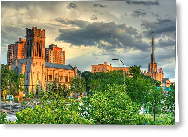 Hennepin Greeting Cards - Downtown Minneapolis Skyline Saint Marks Episcopal Cathedral Greeting Card by Wayne Moran