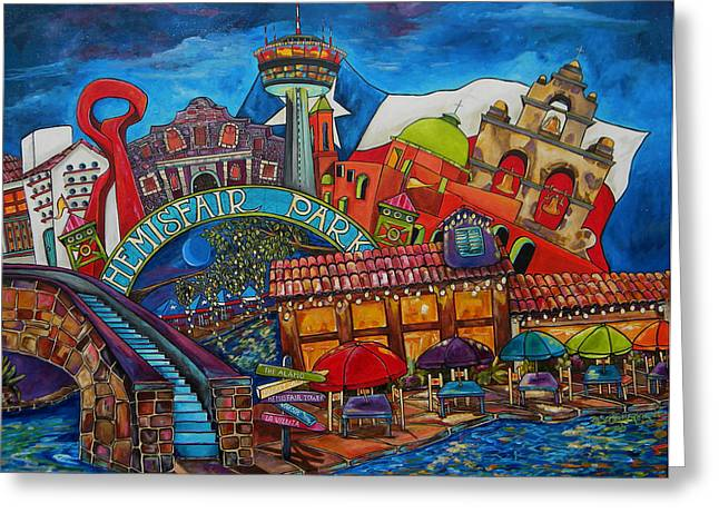 Downtown Montage San Antonio Greeting Card by Patti Schermerhorn