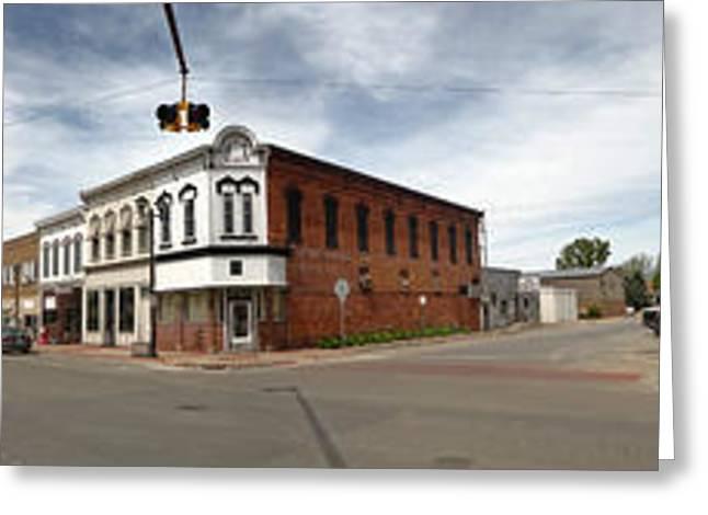 Downtown Montezuma Iowa Panorama Greeting Card by Gregory Dyer