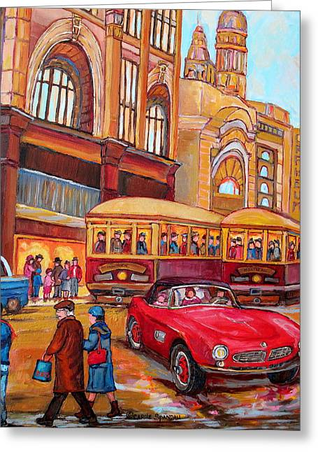 Ste Catherine Greeting Cards - Downtown Montreal-streetcars-couple Near Red Fifties Mustang-montreal Vintage Street Scene Greeting Card by Carole Spandau