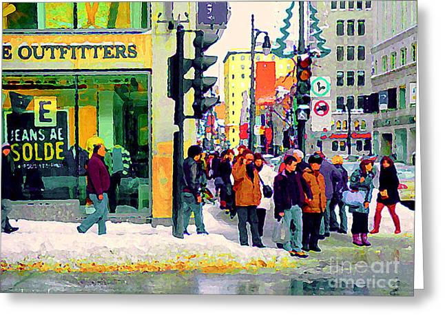 St.catherine Street Greeting Cards - Downtown Montreal Winter Scene American Eagle Outfitters St Catherine Busy Sidewalk Scene C Spandau  Greeting Card by Carole Spandau