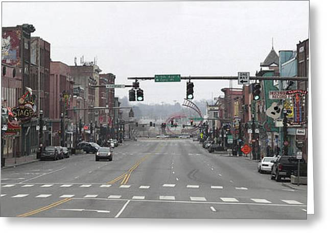 Nashville Tennessee Greeting Cards - Downtown Nashvile Panoramic Greeting Card by Christine Olson