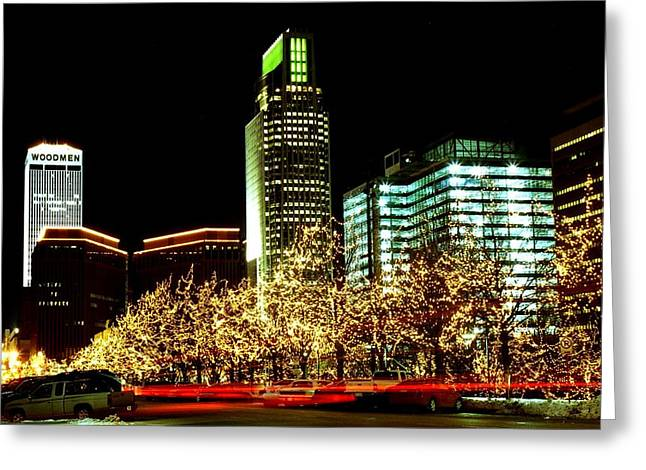 Omaha Greeting Cards - Downtown Omaha skyline Greeting Card by Jetson Nguyen