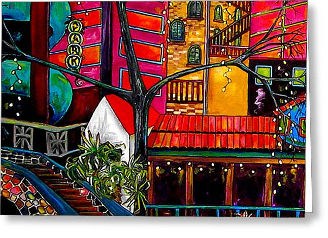 Downtown on The River Greeting Card by Patti Schermerhorn