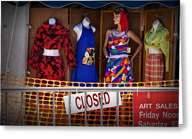 Apparel Greeting Cards - Downtown Outdoor Clothing Display Greeting Card by Randall Nyhof