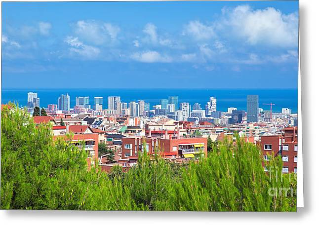 Downtown Panorama Of Barcelona Greeting Card by Michal Bednarek