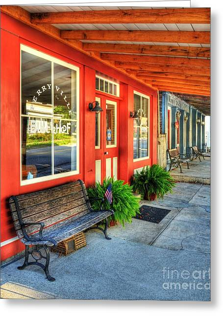 Small Towns Greeting Cards - Downtown Perryville Greeting Card by Mel Steinhauer
