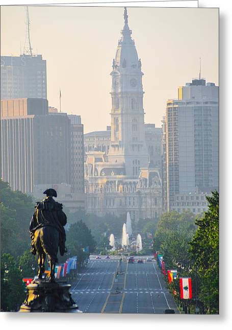 Downtown Franklin Greeting Cards - Downtown Philadelphia - Benjamin Franklin Parkway Greeting Card by Bill Cannon