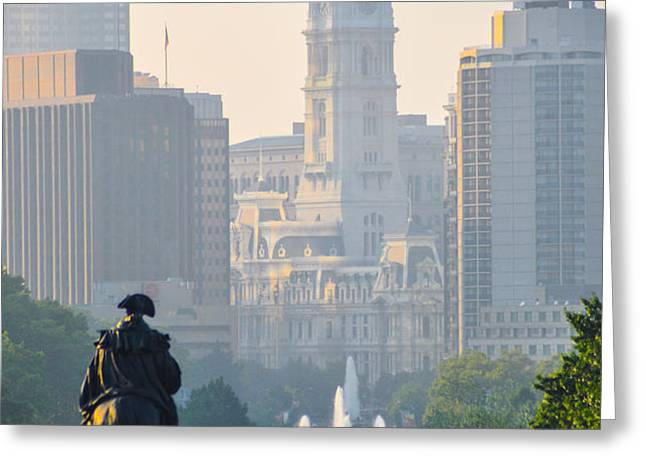 Downtown Philadelphia - Benjamin Franklin Parkway Greeting Card by Bill Cannon