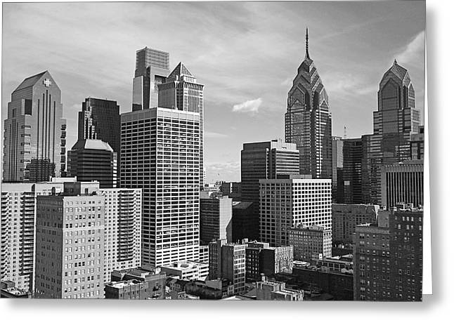 Bw Greeting Cards - Downtown Philadelphia Greeting Card by Rona Black