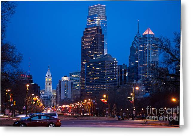 Downtown Franklin Greeting Cards - Downtown Philladelphia Greeting Card by Rima Biswas