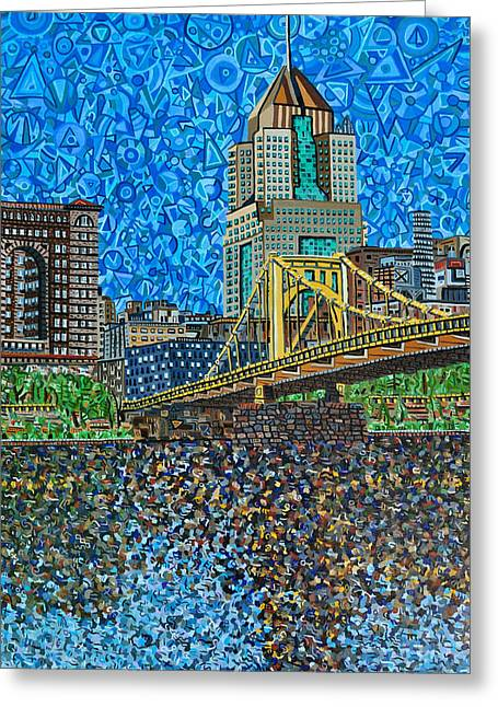 Roberto Clemente Paintings Greeting Cards - Downtown Pittsburgh - Roberto Clemente Bridge Greeting Card by Micah Mullen