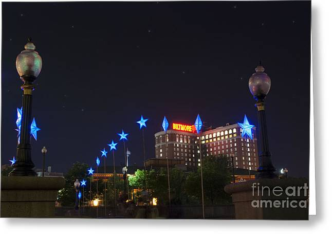 Installation Art Greeting Cards - Downtown Providence at Night Greeting Card by Juli Scalzi